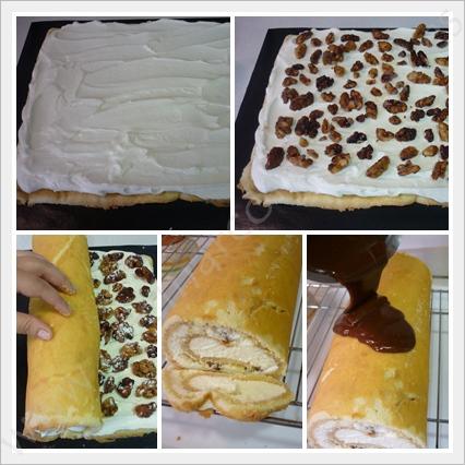 cocinar-con-recetas-tartas-brazo-de-gitano-relleno-de-nata-y-nueces-caramelizadas-4